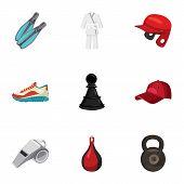 Sporting Items Icons Set. Cartoon Illustration Of 9 Sporting Items Icons For Web poster