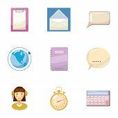 Round Clock Consultation Icons Set. Cartoon Illustration Of 9 Round Clock Consultation Icons For Web poster