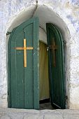 door in ethiopian monestary,church of the holy sepulchre, jerusalem, israel