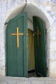 door in ethiopian monestary,church of the holy sepulchre, jerusalem, israel