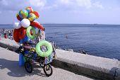 mobile shop on seaside resort selling toys, istanbul, turkey
