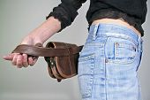 series: woman posing with money belt bag