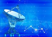 Satellite Dishes Antenna - doppler radar, digital wave and blue technology background - abstract ill poster