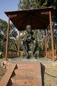 gandhi statue at rajghat memorial, delhi, india