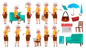Old Woman Poses Set Vector. Elderly People. Senior Person. Aged. Comic Pensioner. Lifestyle. Postcar poster