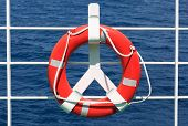 Life buoy on ferry crossing the mediterranean sea to some Croatian island
