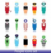 Set of people icons. Can be used as a web button or avatar.