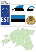 Estonia collection including flag, plate, map (administrative division), symbol, currency unit & coat of arms