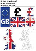 United Kingdom collection including flag, plate, map (administrative division), symbol, currency unit, glossy button.