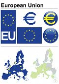European Union collection including flag, plate, map (administrative division), symbol, currency uni