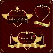 Detailed valentine's day label set.