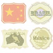 Vintage labels of China, Brazil, Australia and Mexico. All elements (including grunge) easy editable and removable.