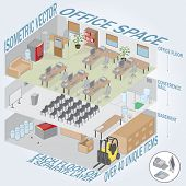 Isometric 3 level office. Each level on a separate layer. Full pack of furniture including accessories. All objects are editable. All Items are isolated and can be used as an icons.