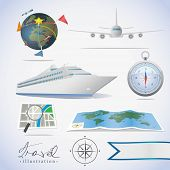 Travel icons. Different types of transportation, compass and maps.