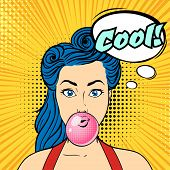Vector Pop Art Beautiful Woman Face With Speech Bubble Chewing Bubble Gum. Retro Style. poster