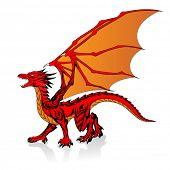 vector illustration of fantasy red dragon