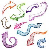 Curvy colorful arrow sketch/doodle set