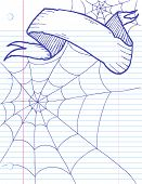 Spider web sketch with banner