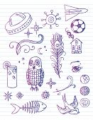 Lined paper with doodles
