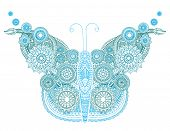 Blue butterfly made up of a floral pattern