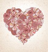Heart made of hand drawn flowers.