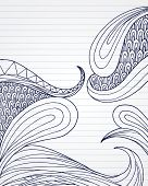 Organic swirl shapes on lined paper.
