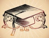 stock photo of lithographic  - 18th century style mortarboard - JPG