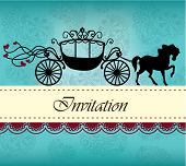 image of carriage horse  - Invitation card with carriage  - JPG