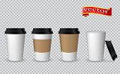 Blank Realistic Coffee Cup Mockup. Paper Cups Isolated On White. Plastic Coffee Cup Templates. Vecto poster