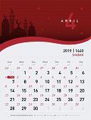 04 April Calendar 2019. Hijri 1440 To 1441 Islamic Design Template. Simple Minimal Desk And Wall Typ poster