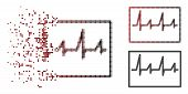 Cardiogram Icon In Sparkle, Pixelated Halftone And Undamaged Whole Variants. Cells Are Arranged Into poster