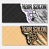 Vector Banners For Hair Salon With Copy Space, Templates With Hairdresser Professional Equipment, Or poster