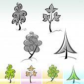 Conjunto de ícones de árvore caligráfico - vetoriais editáveis
