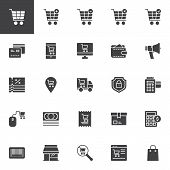 Online Shopping Vector Icons Set, Modern Solid Symbol Collection Filled Style Pictogram Pack. Signs  poster