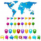 illustration of world map with set of gps indicator button poster