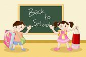 illustration of kids standing in front of black board