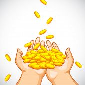 illustration of hand full of golden coin on abstract background