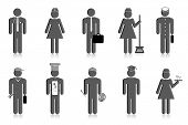 image of sweeper  - illustration of set of icon of professional people - JPG
