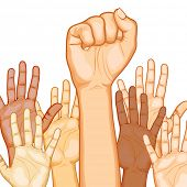 illustration of raised hand of different race with one fist