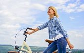 Woman Rides Bicycle Sky Background. How To Learn To Ride Bike As An Adult. Active Leisure. Healthies poster