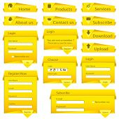 illustration of set of web form template in origami style