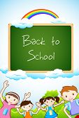 illustration of kids posing with chalk board on sky background