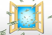 illustration of dollar coming from window with sky in backdrop