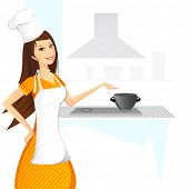 illustration of lady cooking in kitchen on abstract background