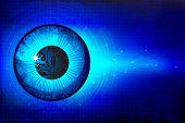 illustration of eye in technological background