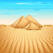 illustration of pyramid structure on lonely desert