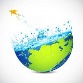 illustration of fish jumping form globe filled with water splash