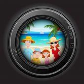 Ilustración de familia asomando a través de la lente de la cámara en la playa