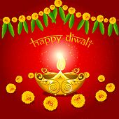 picture of ganpati  - illustration of burning diwali  diya on floral background - JPG