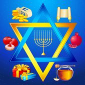 illustration of element for hanukkah and chanukah around star of david